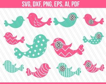 Bird SVG, Bird monogram svg,Birds clipart, Cricut silhouette, Screen Printing, Cut files, Vinyl-Instant Download-SVG, Dxf, EPS, Ai, Pdf, png