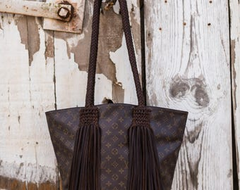 The Sac Louis Vuitton, fringe, upcycle, gift for her, boho, western, cowgirl, gypsy, crossbody bag, purse, Christmas