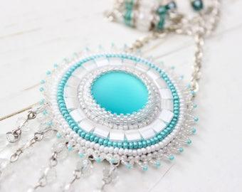 Beautiful Necklace, Seed Bead Necklace, Turquise Lunasoft Pendant
