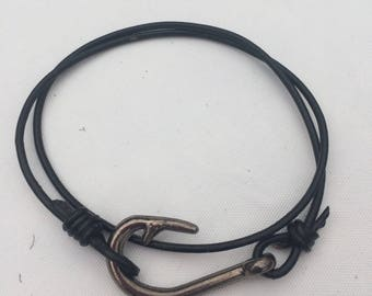 Leather wrap fish hook bracelet