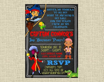 Jake and the Neverland Pirates Chalkboard Invitation - Party Invitation - Birthday Party Invite - Digital - Personalized Customized