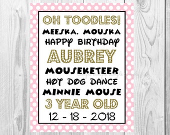 "Oh Toodles Meeska Mouska Birthday Girl Sign, Minnie Mouse Birthday Party Sign, 8""x10"" Printable, Instant Download, Gold & Pink Sign"
