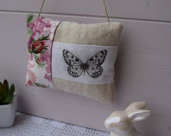 Door cushion fabric and transfer Butterfly - pillow - pillow and cushion vintage decoration shabby spring floral fabric