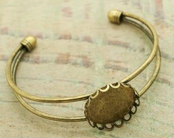Bronze Bangle Bracelet set of 2 20mm cabochon