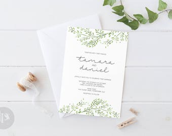 Foliage Wreath Printable Wedding Invitation Suite Build Your Own - Invitation, Save the Date, RSVP, Details, Program, Menu, Thank You Cards