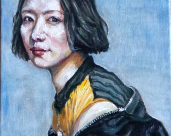"Original Oil Painting, Asian Woman Portrait, 1711073, 16""x12"""