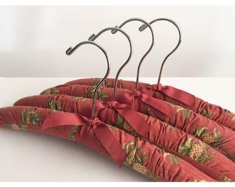 Vintage Cushion Hangers, Pineapple Print Hangers, Padded Hangers