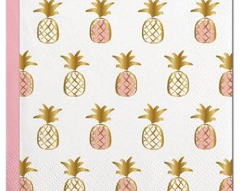 Pineapple Napkins,Gold Foil Pineapple,Pineapple Party,Beverage Napkin,Summer Napkins,Pineapple,White Pineapple, Gold Foil Napkin,Summer