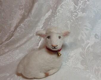 "Needle Felted Wool Lamb with Bell by Elsa Jo Ellison, 4.5"""