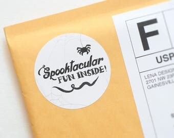Halloween Stickers - Packaging Stickers - Spooktacular - Halloween Favor Tags - Printed Stickers - Halloween Packaging - Treat Bag Stickers