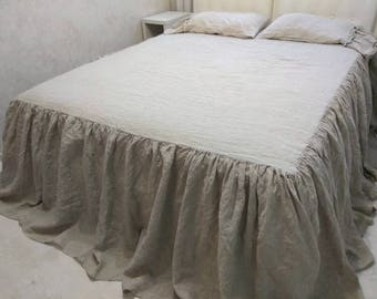 LINEN RUFFLED COVERLET natural coverlet look as bed skirt dust ruffle natural bed cover white bedspread gray washed coverlet ruffled bedding