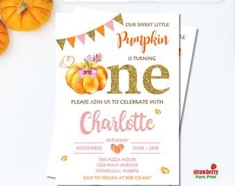 Little Pumpkin First Birthday Invitation Girl. Pumpkin Birthday Invitation. Fall Birthday Invitation. Pink, Orange & Gold. A40
