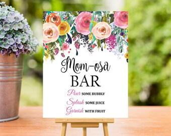 Momosa Bar Sign, Baby Shower Mimosa Bar Sign Printable, Floral Mom-osa Bar Sign Printable, Pink Floral, 8x10 PDF, Instant Download, C17