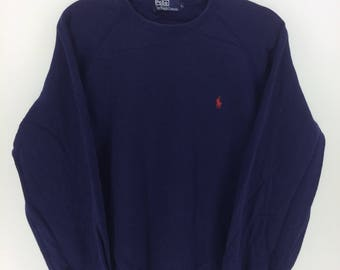 Vintage 90's Polo by Ralph Lauren Dark Blue Classic Design Skate Sweat Shirt Sweater Varsity Jacket Size L #A828