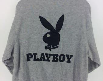 Vintage 90's Playboy Rare Classic Design Skate Sweat Shirt Sweater Varsity Jacket Size XL #A861