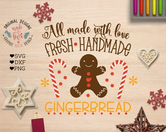Gingerbread SVG, Gingerbread Bakery SVG, Gingerbread Cut File and Printable in SVG, dxf, png, Christmas svg file, Bakery svg file, Cricut