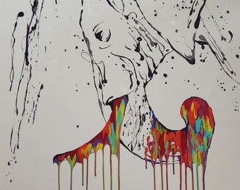 "Painting Animal elephant "" Original handmade painting on canvas, By Tomer Sharabani"