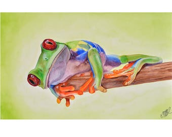 Watercolor Painting Giclee Print Fine Art Watercolor Realistic Frog Reptile