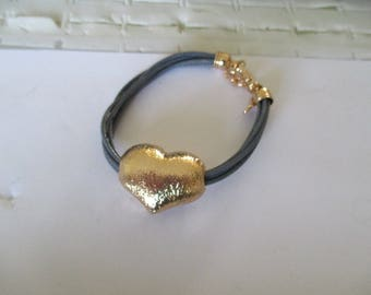 Bracelet leather and heart