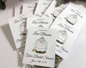 Wildflower Seed Favors, 25 Bespoke Birdcage Personalized Wedding Favors, Love is Blooming, Birthday, Bridal or Baby Showers