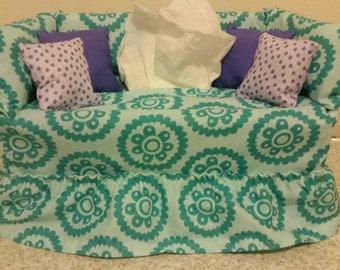 Pretty Mandala stylized motif  couch tissue box cover.  Aqua blue.