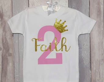 Personalised Girls number Birthday T-shirt or Bodysuit (vest) 1-10 years. Other colours