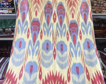 Magnificent blue red ikat fabric, Bukhara hand woven Ikat fabric
