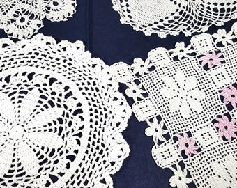 VINTAGE DOILY COLLECTION  5 Hand Crocheted Doilies Vintage Crochet White Doily S & H Included