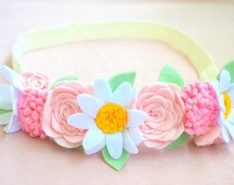 Felt flower headband Baby girl floral crown Newborn headband Felt headband with сhamomile and rose