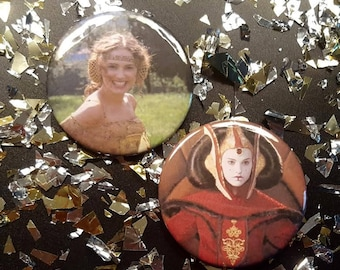 Padmé/Queen Amadala/Star Wars 2.5 in. pin back buttons