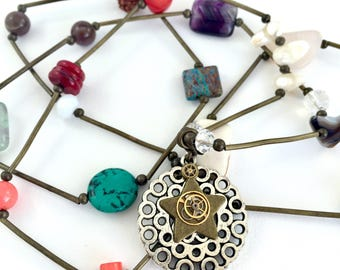 Steampunk Star Pendant on long bronze necklace with semi precious stones