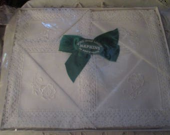 Vintage Pure Irish Linen Napkin Set by Brownlow (1970s)