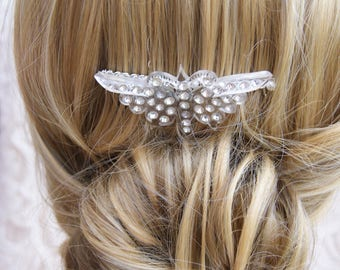 Vintage Butterfly Hair Comb - Lucite & Diamante- Bridal / Wedding /Bridesmaid/ Prom Hair Accessories