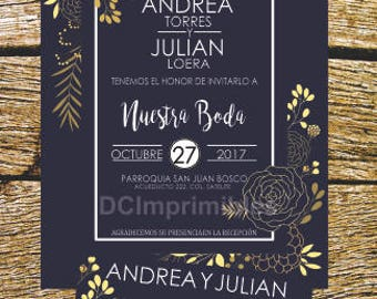 Invitation wedding Digital, Floral, Vintage, printable English-Spanish
