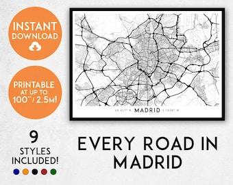 Madrid map print, Printable Madrid map art, Madrid print, Spain map, Madrid art, Madrid poster, Madrid wall art, Madrid gift, Map of Madrid