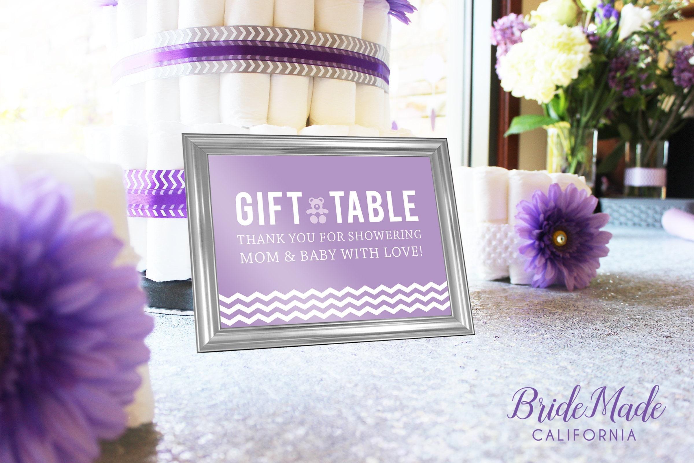 Purple Baby Shower Signs, Chevron Baby Shower, Digital Download, Address  Sign, Belly