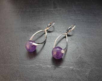 Amethyst and 925 silver earrings, rhodium-plated