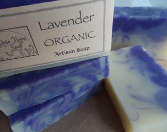 Organic Lavender Soap - Essential Oil, All Natural, Artisan, Cold Process, Aromatherapy, Vegan - Coconut, Olive, Sunflower Oil