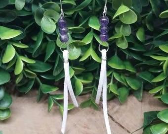 Amethyst Tassel Drop Earrings