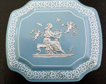 Beautiful British Sky Blue Tin Box Embossed with Greco Roman Style Imagery Storage Functional Decor Home Decor Decorative Made in England