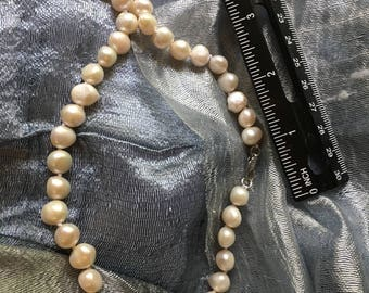 White Natural Freshwater Baroque Pearl Necklace 18inches 8-9mm