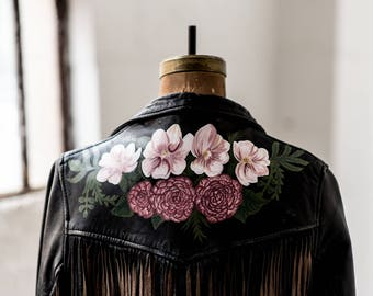 Vintage Leather Fringe Jacket with Hand-Painted Magnolias & Camellias