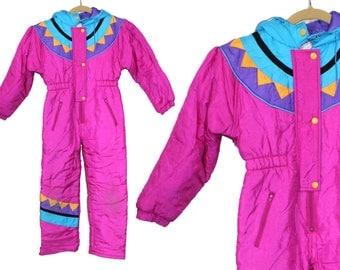 girls snowsuit • vintage snowsuit • one piece snowsuit • retro 80s 90s snowsuit • puffy kid ski suit • Kidswear by Paramount • girl size 7 S
