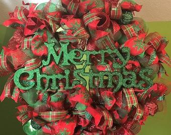 Merry Christmas Wreath, Christmas Wreath, Holiday Wreath