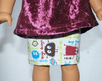"""Doll Skirt Little Monsters American GIrl 18"""""""