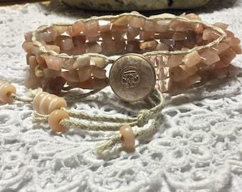 All peachy moonstone healing bracelet