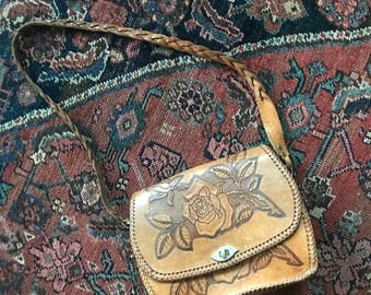 70s Tooled Leather Bag Vintage Leather Purse Roses Whipstiched Braided