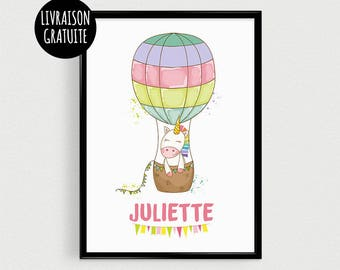 Personalized Unicorn with name - post (21x30cm) Scandinavian quote nursery poster
