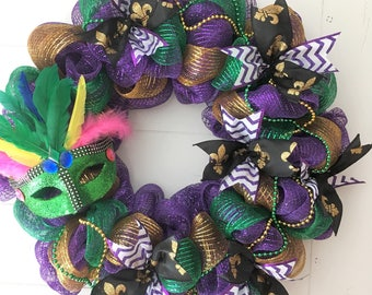 Mardi Gras Wreath - Ready to Ship