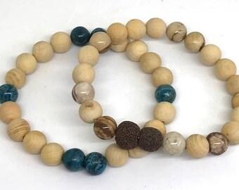 Sandalwood and Gemstone Beaded Bracelet